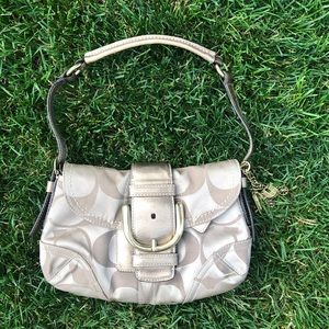 Gold and tan coach bag comes with dust bag